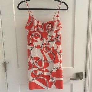 Lilly Pulitzer XS Orange Coral White Anchor Dress